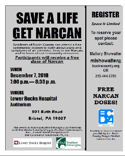 View and Download PDF flyer for Narcan training here :